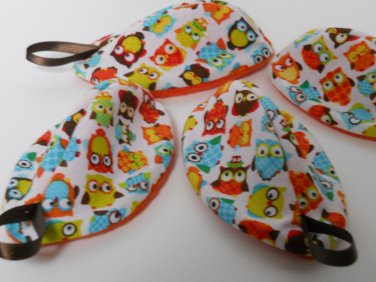 Set of 4 PEE PODS / Diaper Changing Accessory / Colorful Owl