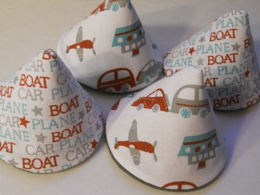 Pee Wee Tinkle Tents / Diaper Bag Accessory / Boy Baby Shower Gift / Set of 4 / CAR BOAT PLANE
