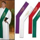 SET OF FOUR DEACON ALPHA OMEGA STOLES, PURPLE, GREEN, WHITE, RED~CLERGY~VESTMENT
