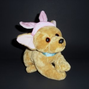 """Easter Soft Dog with Pink Bunny Ears Stuffed Toy 6"""" Wal-Mart"""