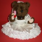 "13 "" Teddy Bear Plush Toy Like Wedding McField Fashion Doll with Base Bouquet Roses Brown Pink White"