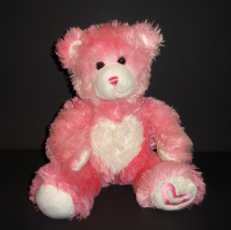 "Build A Bear Pink Teddy Bear With Hugs Good Wishes Plush Stuffed Toy Animal Soft Cuddly 15"""