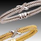 Double Braided Gold & Diamond Bracelet (Choice of Yellow or White)