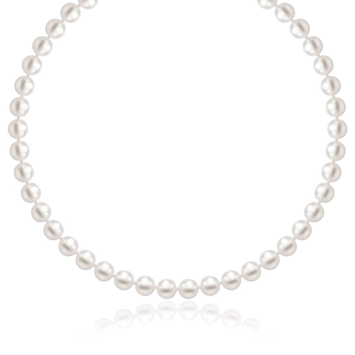 14K White Gold Necklace with White Freshwater Cultured Pearls (6.0mm to 6.5mm)