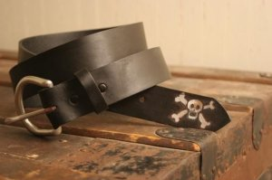 Skull and Crossbones Leather Belt - Last Hurrah