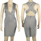 Bandage dress  Evening Dress Cross Back Bodycon Grey Color Size S