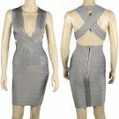 Bandage dress Evening Dress Cross Back Bodycon Grey Color Size M