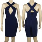 Bandage dress  Evening Dress Cross Back Bodycon Navy Blue Color Size S