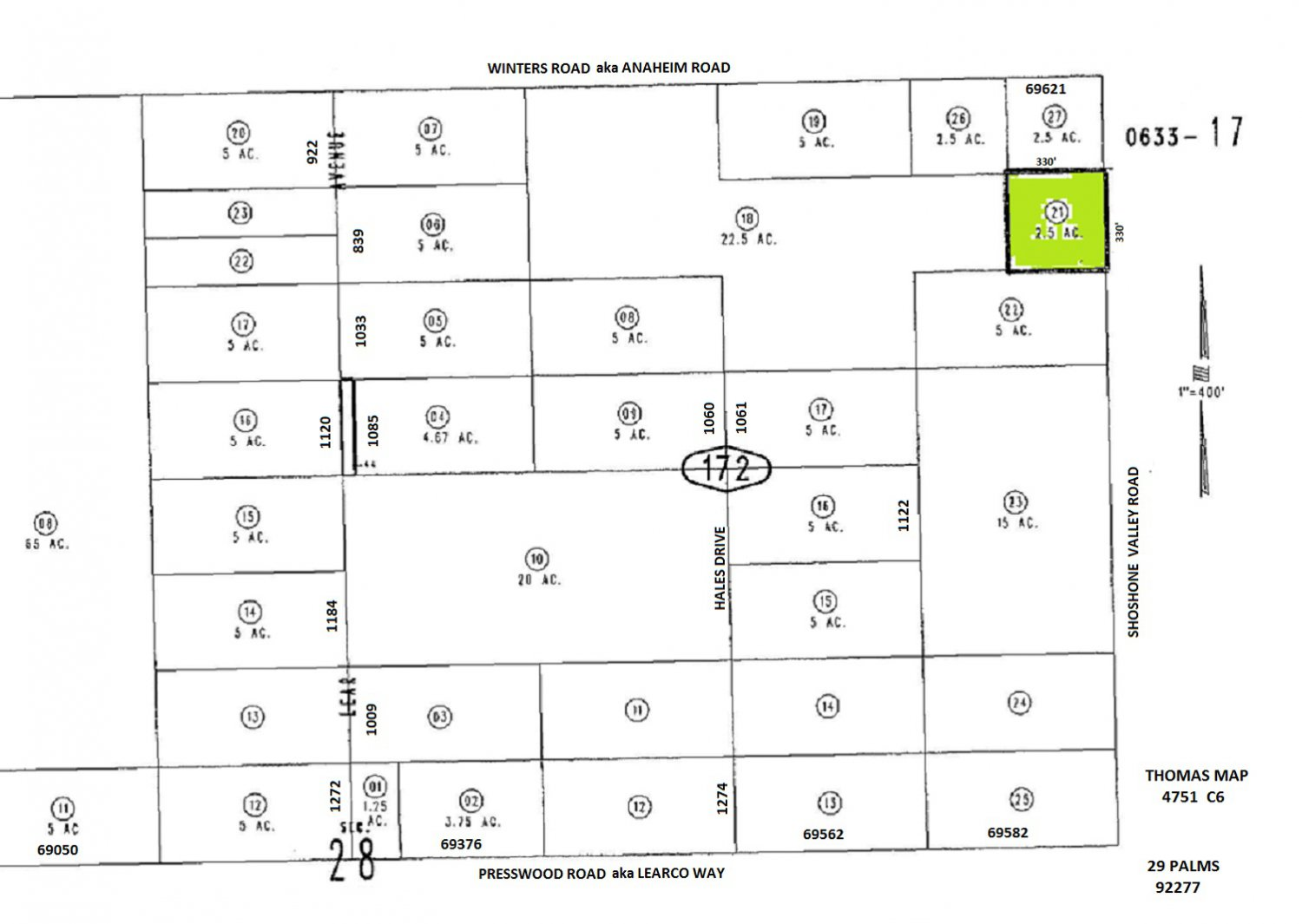 2.5 Acres Shoshone Vly Road near Winters Road, 29 Palms