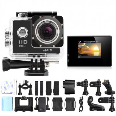 WiFi Sports Camera 1080P Full HD 12MP Waterproof DV Action Video Recorder W8 Gopro SJ4000 Black