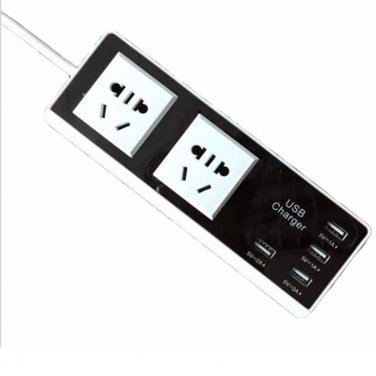 Intelligent Battery Charger Power Strip Smart 2 Outlet 4 USB Ports Surge Protector Travel Adapter