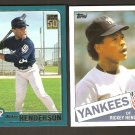 2001 Topps Rickey Henderson 2 Cards Traded T113 ( 1985 Reprint) & T77