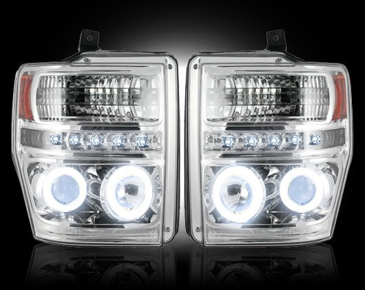 Part # 264196CLCC - CLEAR Projector Headlights Ford Superduty 08-10 CCFL Technology