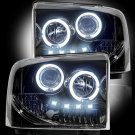 Part # 264193BK - SMOKED Projector Headlights Ford Superduty & Excursion 05-07 w LED Halos & DRLs