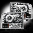 Part # 264192CL - CLEAR Projector Headlights Ford Superduty & Excursion 99-04 w LED Halos & DRLs