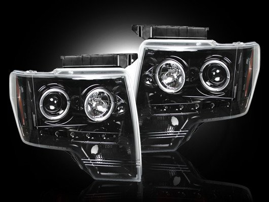 Part # 264190BK - SMOKED Projector Headlights Ford F150 & Raptor 09-13 w LED Halos & DRLs