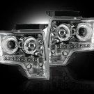 Part # 264190CL - CLEAR Projector Headlights Ford Raptor & F150 09-12 w LED Halos & DRLs