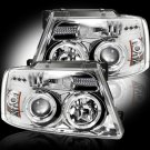 Part # 264198CL - CLEAR Projector Headlights Ford F150 04-08 w LED Halos & DRLs
