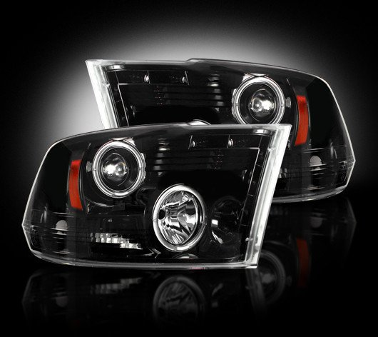 Part # 264270BK - SMOKED Projector Headlights Dodge RAM 09-12 1500 & 10-12 2500/3500