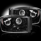 Part # 264199BK - SMOKED Projector Headlights Dodge RAM 06-08 w LED Halos & DRLs