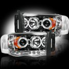 Part # 264191CL - CLEAR Projector Headlights Dodge RAM 02-05 w LED Halos & DRLs