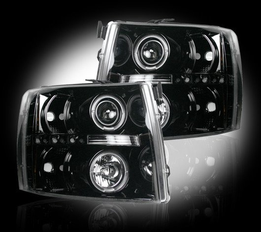 Part # 264195BK - SMOKED Projector Headlights Chevy Silverado 07-12 w LED Halos & DRLs