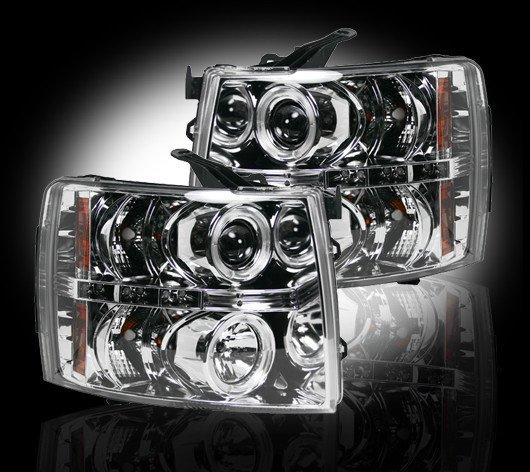 Part # 264195CL - CLEAR Projector Headlights Chevy Silverado 07-12 w LED Halos & DRLs