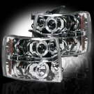 Part # 264195CL - CLEAR Projector Headlights Chevy Silverado 07-12 w LED Halos & DRLs