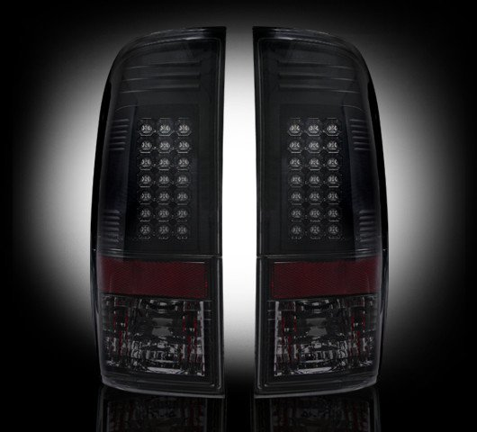 Part # 264172BK - SMOKED LED Tail Lights 99-07 Ford Superduty & 97-03 F150