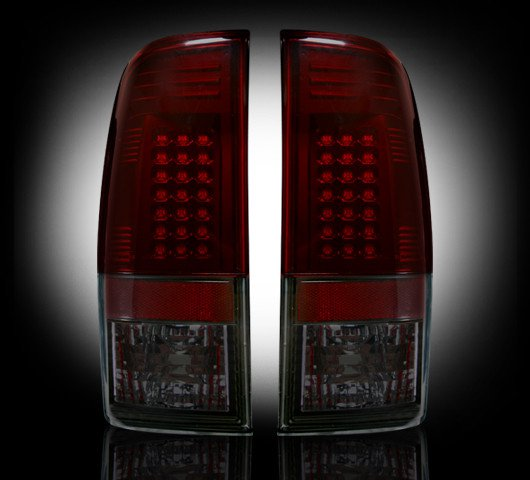 Part # 264172RBK - DARK RED/SMOKED Ford LED Tail Lights 99-07 Superduty & 97-03 F150