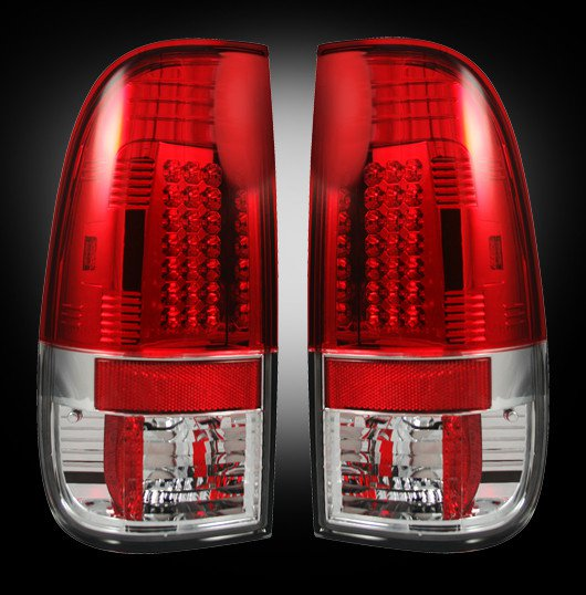 Part # 264172RD - RED LED Tail Lights 99-07 Ford Superduty & 97-03 F150