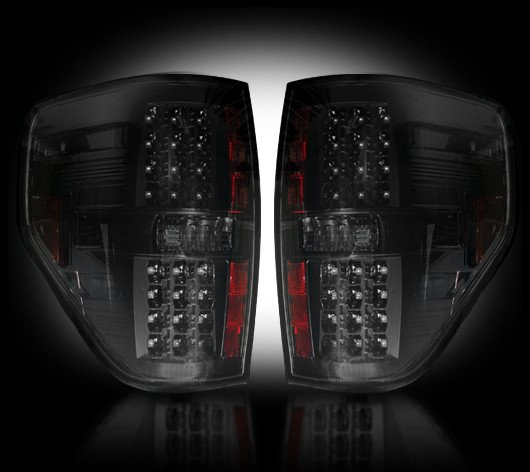 Part # 264168BK SMOKED LED Tail Lights Ford Raptor & F150 09-13