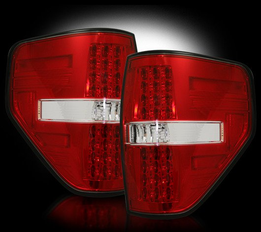 Part # 264168RD RED LED Tail Lights Ford Raptor & F150 09-12