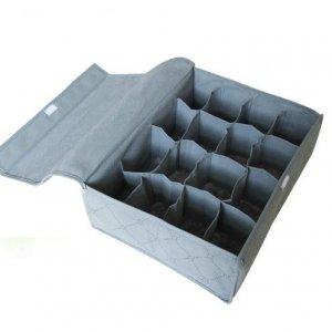 16 Cell Charcoal Underwear Sock Tie Drawer Closet Organizer Storage Box  With Lid