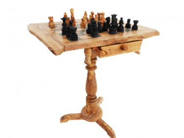 Olive wood rustic chess table / Wooden chess board with Natural Edges, Dad Gift