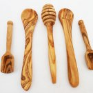 Olive Wood Small Utensil Set / Coffee Sugar Spoon Set / Honey Dipper Stick