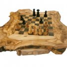 Olive Wood Rustic Custom Engraved Personalized Monogrammed Chess Set Board