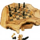 Olive Wood Rustic Engraved Personalized Monogrammed Custom Chess Set Board