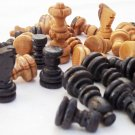 Olive wood hand carved chess pieces, wooden rustic chess set small pieces