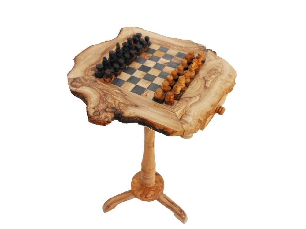 Olive Wood Rustic Chess Table, Wooden Chess Board Set, Christmas Gift, Dad Gift