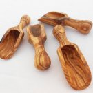 Handmade Olive Wood Small Salt Scoop Set of 4, Wooden Measuring Coffee Scoop Set