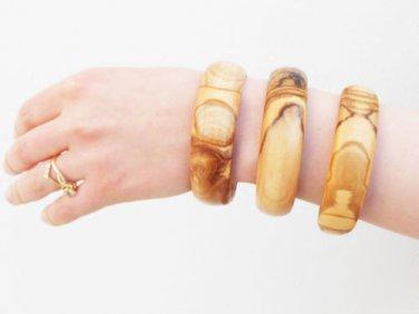 Handmade Olive Wood bracelet set / Wooden Bangles Set / Girlfriend Gift