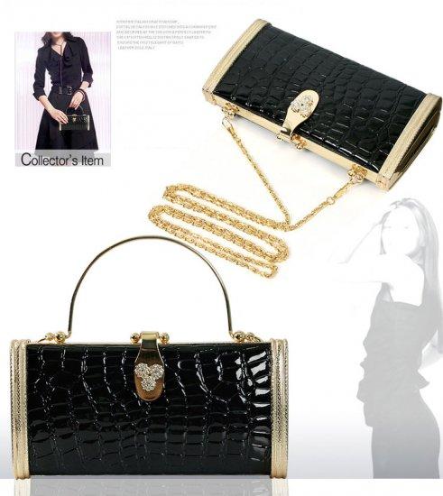 French 'Debbie' Crocodile Embossed Designer Clutch Bag