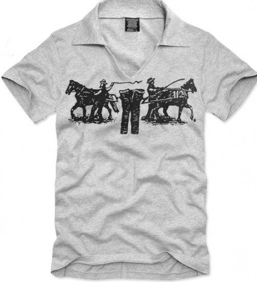 V-neck short sleeve men's t-shirt - Jeans