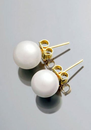 8mm White Pearl 14K Yellow Gold  Earrings
