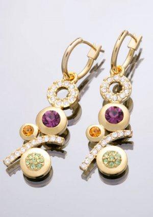 14K Yellow Gold Swarovski Stone Modern Shining Earrings