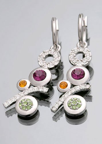 14K White Gold Swarovski Stone Modern Shining Earrings