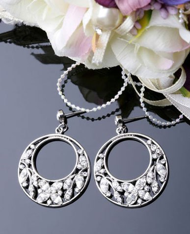 White Gold Plated Cubic Zirconia Stud Classic Round Earrings