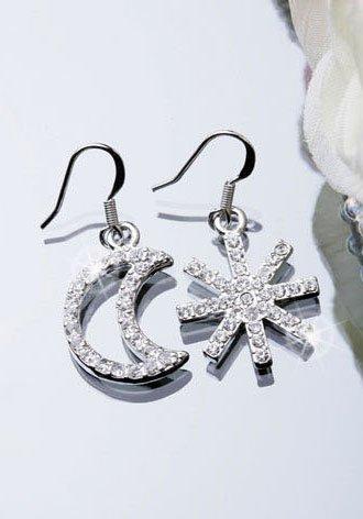 Silver Plated Cubic Zirconia Stud Unbalance Moon Snow Earrings