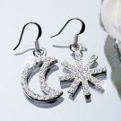 Silver Plated Cubic Zirconia Stud Unbalance Moon Snow Earrings